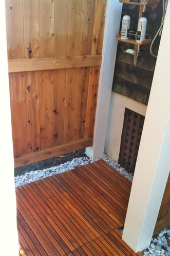 Teak Shower Mats are great for outdoor showers.