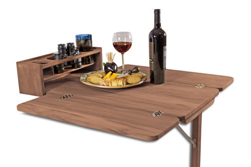 Teak Cockpit Table With Folding Leaves And Drink Holder