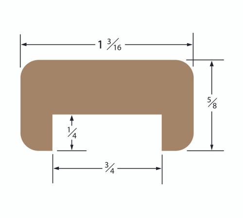 Teak Bulkhead Molding 3/4 Track Straight Length