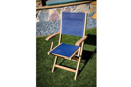 SeaTeak Bimini Folding Teak Chair with Blue Fabric Seat and Back