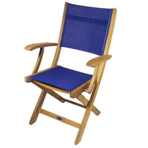 Bimini Folding Teak Deck Armchair with Blue Textilene Fabric