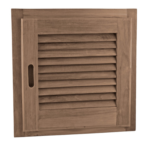 "Louvered Door + Frame, Square 15"" x 15"""