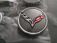 2014-Current; C7; Center Wheel Cap Emblem; Set of 4; SILVER PAINT