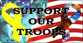 Support Our Troops Mini License Plate Metal Novelty Key Chain
