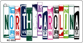 North Carolina License Plate Art Metal Novelty Mini License Plate Key Chain
