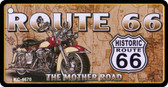 Route 66 Motorcycle Map Novelty Metal License Plate