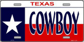 Cowboy Texas Metal Novelty License Plate