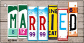 Married Wood License Plate Art Novelty Key Chain