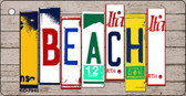 Beach Wood License Plate Art Novelty Key Chain