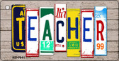 Teacher Wood License Plate Art Novelty Key Chain