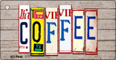Coffee Wood License Plate Art Novelty Key Chain