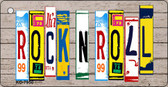 Rock N Roll Wood License Plate Art Novelty Key Chain