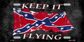 Confederate Keep It Flying Novelty Metal License Plate