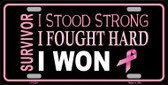 Breast Cancer Survivor Ribbon Novelty Metal License Plate