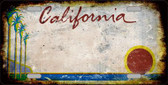 California Background Rusty Novelty Metal License Plate