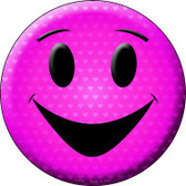 Pink Smiling Face Novelty Metal Circular Sign