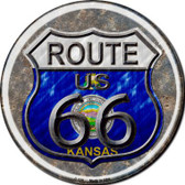 Kansas Route 66 Novelty Metal Circular Sign