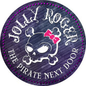 The Pirate Next Door Novelty Metal Circular Sign