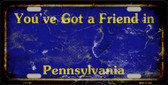 Pennsylvania Background Rusty Novelty Metal License Plate