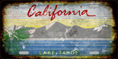 California Lake Tahoe Background Rusty Novelty Metal License Plate