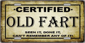 Certified Old Fart Metal Novelty License Plate