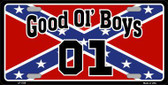 Good Ol Boys Confederate Flag Metal Novelty License Plate