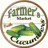 Farmers Market Cucumbers Novelty Metal Circular Sign