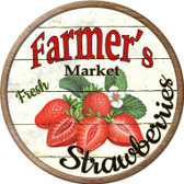 Farmers Market Strawberries Novelty Metal Circular Sign