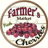 Farmers Market Cherries Novelty Metal Circular Sign