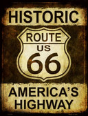 Historic Route 66 Metal Novelty Parking Sign