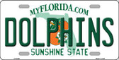 Dolphins Florida State Background Novelty Metal License Plate