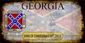Georgia Rusty State Background Novelty Metal License Plate