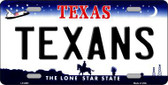 Texans Texas State Background Novelty Metal License Plate