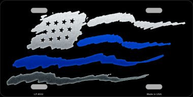 American Flag Blue Line Novelty Metal License Plate