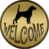 Welcome With Dog Novelty Metal Circular Sign