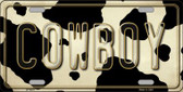 Cowboy Cow Print Background Novelty Metal License Plate