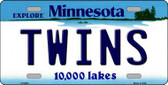Twins Minnesota State Background Novelty Metal License Plate