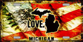 Michigan Love Novelty Metal License Plate