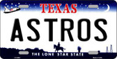 Astros Texas State Background Novelty Metal License Plate