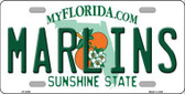 Marlins Florida State Background Metal Novelty License Plate