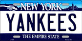 Yankees New York State Background Novelty Metal License Plate