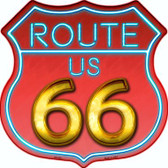 Route 66 Neon Metal Novelty Highway Shield