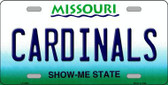 Cardinals Missouri State Background Novelty Metal License Plate