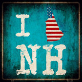 I Love New Hampshire Novelty Metal Square Sign