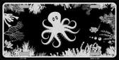 Octopus Black Brushed Chrome Novelty Metal License Plate