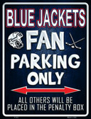 Blue Jackets Metal Novelty Parking Sign