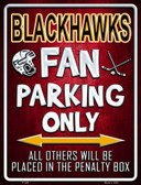 Black Hawks Metal Novelty Parking Sign