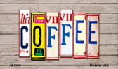 Coffee Wood License Plate Art Novelty Metal Magnet