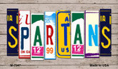 Spartans Wood License Plate Art Novelty Metal Magnet
