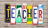 Teacher Wood License Plate Art Novelty Metal Magnet